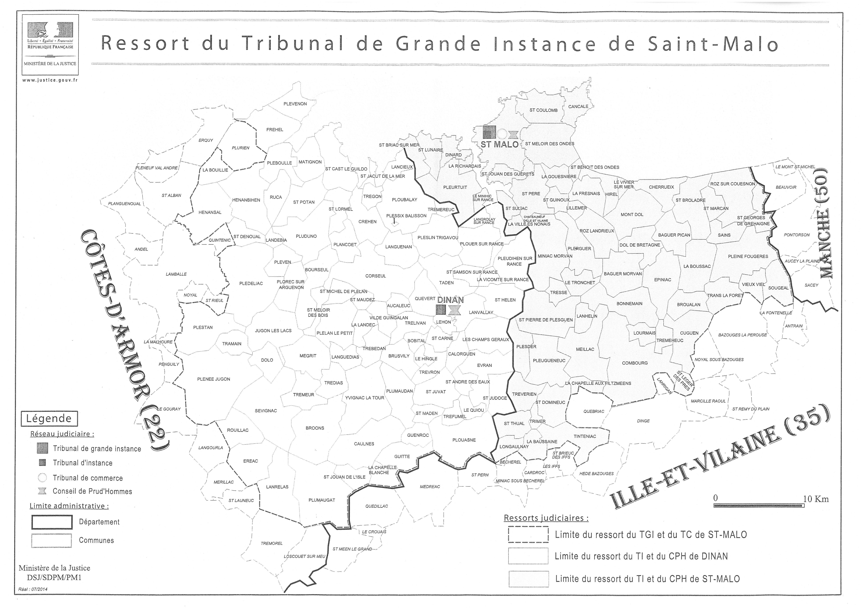 Carte du ressort du TGI de SAINT MALO